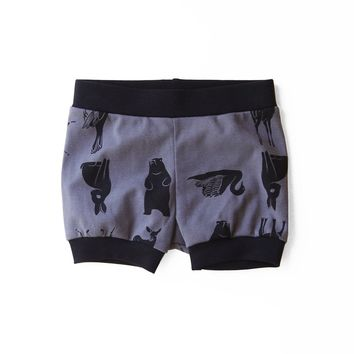 Grid Collective Organic Baby Shorties in Charcoal with Black