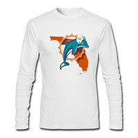 JaHa Men's Florida Miami Dolphins Logo Long-Sleeves T Shirt White
