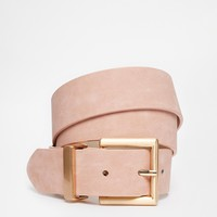 ASOS Blush Belt With Rose Gold Buckle Detail