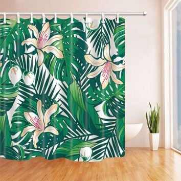 Flower Theme Shower Curtain Waterproof Polyester Bathroom Cover Cloth Ornament