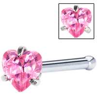 18 Gauge Pink Heart Cubic Zirconia Nose Bone | Body Candy Body Jewelry