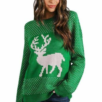 Snowy Day Reindeer Green Christmas Sweater
