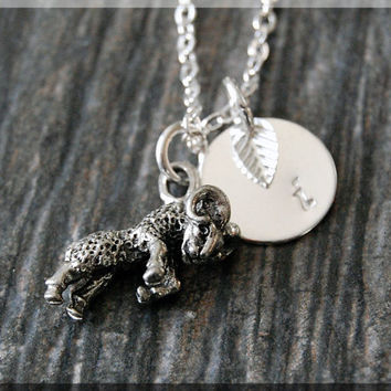 Silver Aries Zodiac Charm Necklace, Initial Charm Necklace, Personalized, Zodiac Horoscope Sign, Aries Pendant, Zodiac Aries Jewelry