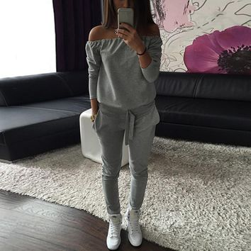 Jumpsuit Fashion Sexy Solid Gray Black Word Shoulder Jogger Casual Tracksuit For Women Sportswear Tops&Pants Sweatshirt
