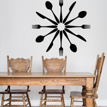 Vinyl Wall Decal Cutlery Spoons Forks Kitchen Decor Dining Room Stickers Unique Gift (2069ig)