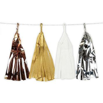 Mixed Metallic Tissue & Foil Tassel Garland - Gold, Silver, Copper, White (Pack of 1)