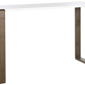 Bartholomew Lacquer Console Table White & Dark Brown