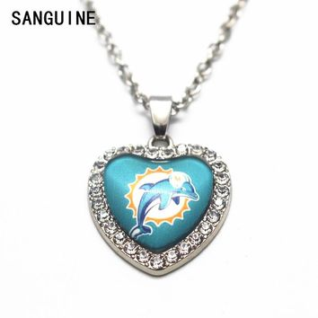 1pcs 50cm Chain Necklace Silver Heart Crystal Football Miami Dolphins Team Glass Pendant Necklace For Women Necklace Jewelry