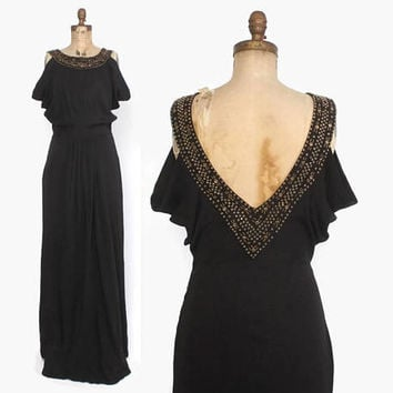 Vintage 40s Studded Evening GOWN / 1940s Black Crepe Deep V Backless Crepe Formal Dress