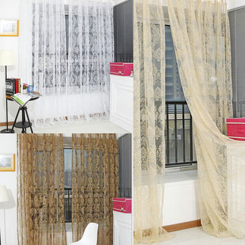 Window Screens Tulle Bronzing Flower Door Curtain Tulle Curtains