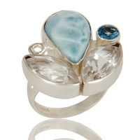 Larimar Blue Topaz and Crystal Quartz Designer Handmade Sterling Silver Ring