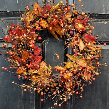 Fall Wreath - Chinese Lantern Berry Wreath -  Primitive Wreath - Primitive Fall Door Wreath - Fall Floral Wreath - Halloween Wreath