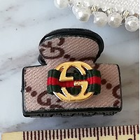 GUCCI G classic cloth mini hair clips caught bangs hair clip Elegant khaki