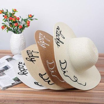 LMF78W Fashion Protable Women Sun Hat Letter Embroidery Straw Plaited Hats Summer Beach Sunscreen Foldable Wide Large Brim Hat