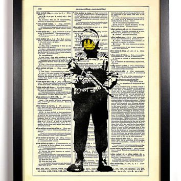 Banksy, Smiley Face Cop, Graffiti, Stencil, Street Art, Vintage Dictionary Book Page, 8 x 10 Print