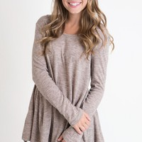 Coffee Shop Taupe Sweater Top