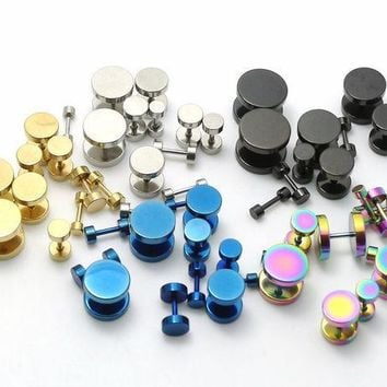 CREYHY3 2Pcs Black Sliver Gold Blue Rainbow Stainless Steel Fake Cheater Ear Plugs Gauge Earrings Body Jewelry Pierceing 3-14mm