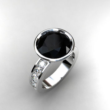 10.00mm Black Spinel ring, white sapphire, engagement ring, spinel engagement, black, sapphire ring, solitaire, bezel, custom, gothic, huge