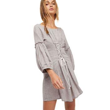 ashion loose contrast color lace-up tunic lantern sleeve Woman's Casual a-line dress