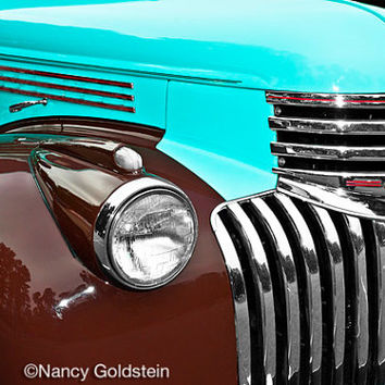 Photo, Chevy, turquoise, brown, vintage restored classic antique car, chrome grill and headlamp, man cave, den, gift for him, fine art print