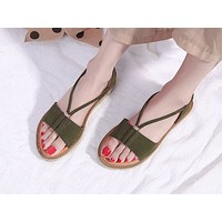 Selling Fashion Sandals Female Student Fishmouth Sandals Green
