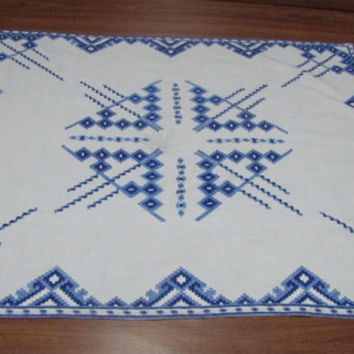 Bulgarian Decorative Hand-Embroidered Tablecloth, Vintage Bulgarian Design, Handmade Decorative Square Table, The Old Traditional Plaid