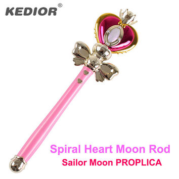 Kedior Sailor Moon Stick Magical Wand Cosplay Anime Upgraded Spiral Heart Moon Rod Musical Light-Up Toys for Girls Gift