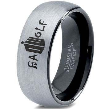 Bad Wolf Doctor Who Silver Black Dome Tungsten Ring