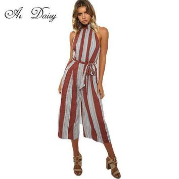 As Daisy Elegant Striped Women Jumpsuit Sexy Rompers Playsuit Overalls Women Summer Ankle Length Pants Combinaison Femme Jp1743