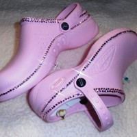 With Swarovski Elements Nurse Clogs Unique And Super Bling With Crystals Girl Cute Clogs Pink-Medical Related Shoes Size -7