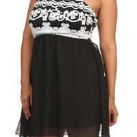 Print Racer Back A Line Dress - White - Plus Size