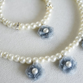 GRAY flower girl jewelry set necklace and bracelet glass pearl grey organza flower ivory or white pearl wedding jewelry