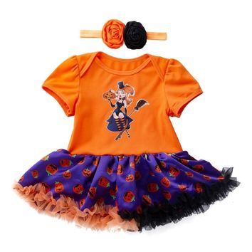 2018 Infant Toddler Baby Girls Fashion Halloween Pumpkin Bow Party Cotton Short Sleeve Dress Clothes Dresses 35