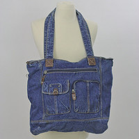 Vintage Denim bag Hippie bagVintage Boho bag denim purse blue denim handbag Festival bag Festival purse denim 90s grunge bag