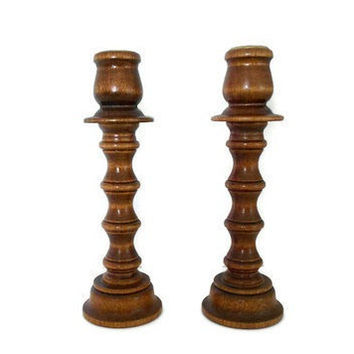 Vintage Wooden Candlesticks Convertible by TheRetroStudio on Etsy