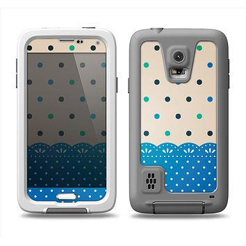 The Tan & Blue Polka Dotted Pattern Samsung Galaxy S5 LifeProof Fre Case Skin Set
