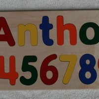 Personalized Wood Name Puzzle with Numbers - Wonderful Birthday Gift -Select Flush or Raised Letters - Kids Puzzle Toy