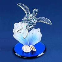 Glass Baron Sea Turtle With Shells and Coral Figurine