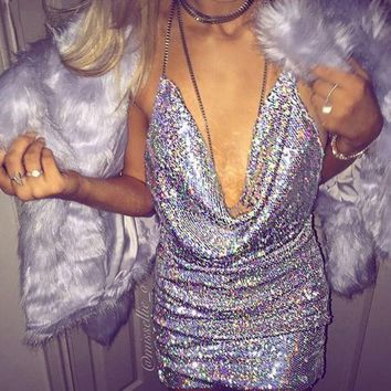 DCCK8H2 Hot! Front Draped Backless Halter Sparkle Women's Sequin Dress Shinny Mini Party Dresses Sleeveless Sexy Show Club Wear New