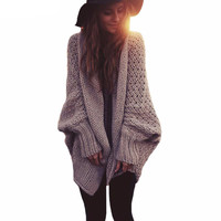 Batwing sleeve long maxi cardigan sweaters 2016 women fall fashion Autumn winter warm knitted jumpers oversized