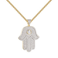Solitaire Hamsa Hand Pendant 14k Gold Finish Chain Simulated Diamonds Iced Out