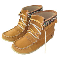 Women's Moosehide Leather Moccasin Boots with sole - 13759W-C