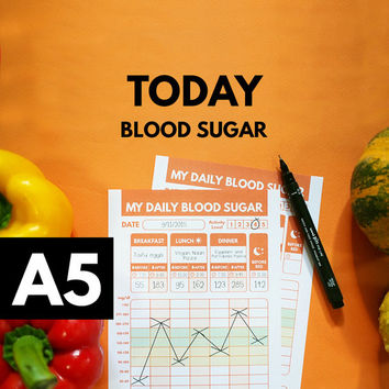 A5 Filofax Blood Sugar Tracker, Type 1 Diabetes Planner, Blood Glucose Tracker, Blood Sugar Log, Printable, Diabetic Diet, Diabetes Diary