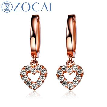 ZOCAI brand drop earring butterfly 0.27 ct natural genuine diamond 18K rose gold earrings fine jewelry E00923