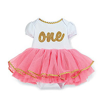 Mud Pie 12 Month One Tutu Crawler - Pink