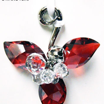 Swarovski Red & Clear Crystal Ornament WINTER BERRIES Light Siam Satin #5119879