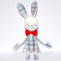 Easter Stuffed bunny boy blue checkered rabbit plush rabbit bunny doll stuffed toy