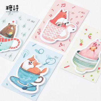 1 X Cute animals quilt animals memo pad paper sticky notes notepad post it stationery papeleria school supplies material escolar