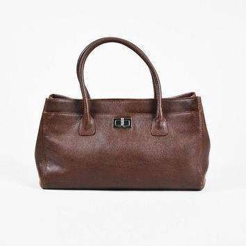 "Chanel Brown Leather Mademoiselle Turnlock ""Reissue Cerf"" Tote Bag"