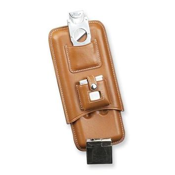 Black/Brown Leather Three Cigar Case with Cutter & Lighter - Embossing Gift Item